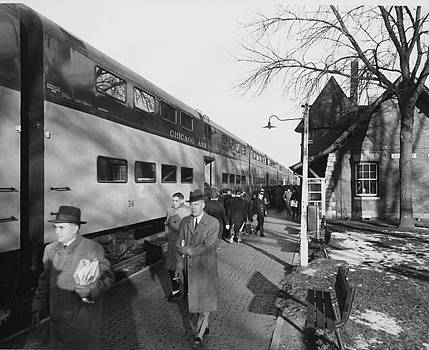 Chicago and North Western Historical Society - Passengers at Station - 1959
