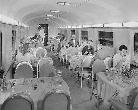 Chicago and North Western Historical Society - Passengers Eat in Dining Car rebuilt for Bilevel Equipment - 1958