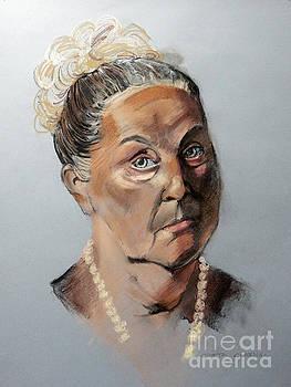 Pastel Portrait of a Lovely Older Woman by Greta Corens