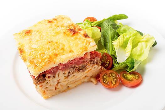 Pastitsio meal high angle by Paul Cowan