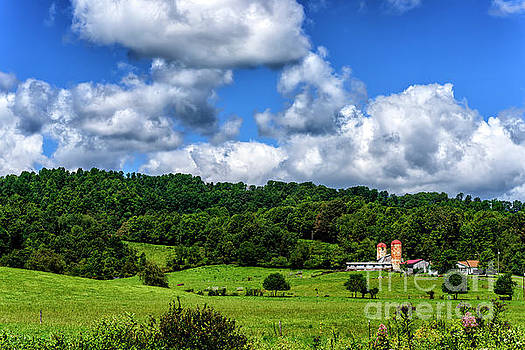 Pasture Field Barn and Silos by Thomas R Fletcher