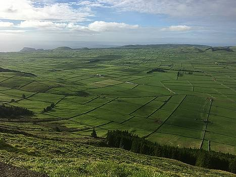 Pastures inside the rim on Terceira, Azores, Portugal by Kelly Hazel