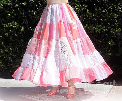 Sofia Metal Queen - Patchwork skirt, pink-white multi-color with flowers
