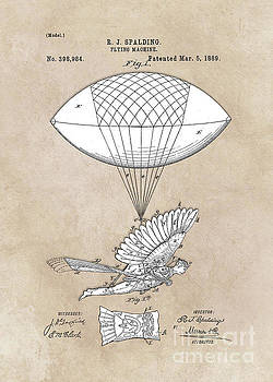 Justyna Jaszke JBJart - patent art Spalding Flying Machine 1889