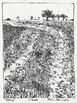 Martin Stankewitz - path in the fields landscape ink drawing
