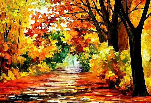Path Of Sun Beams - PALETTE KNIFE Oil Painting On Canvas By Leonid Afremov by Leonid Afremov