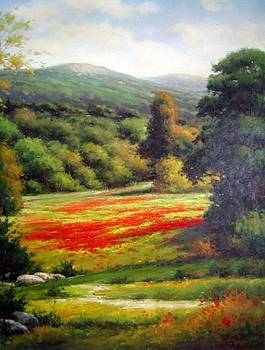 Path to Tuscan Poppies Vertical by Frederick Cooper Collection