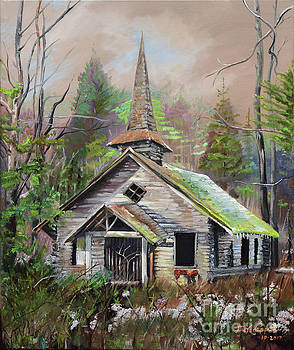 Patiently Waiting - Church Abandoned-signed by Jan Dappen