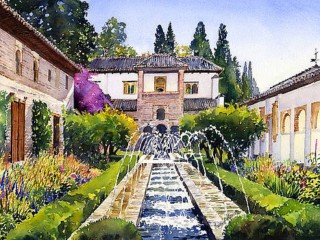 Patio de la Acequia Generalife Granada in Autumn by Margaret Merry