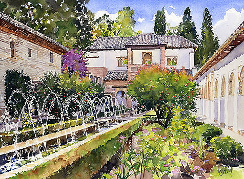Patio de la Acequia Generalife Granada by Margaret Merry