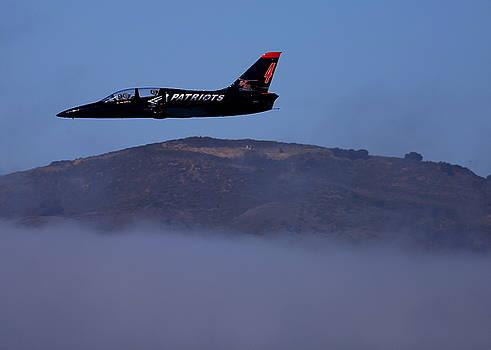 John King - Patriot Jet Skims the Fog Over San Francisco Bay