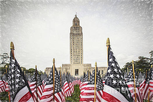 Patriotic Display at the Louisiana State Capitol by Scott Pellegrin