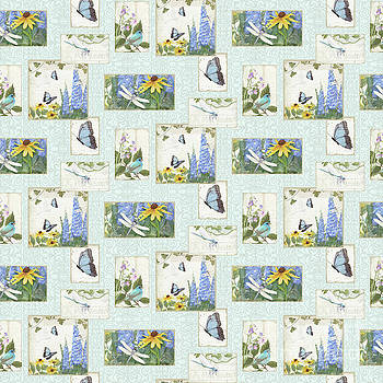 Pattern Butterflies Dragonflies Birds and Blue and Yellow Floral by Audrey Jeanne Roberts