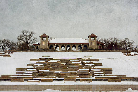 Pavillion in the snow by Lori Peterson