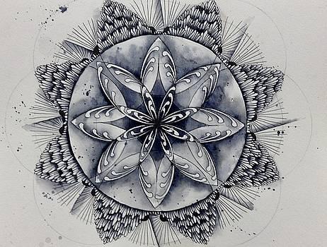 Paynes gray mandala2 by Andrea Thompson