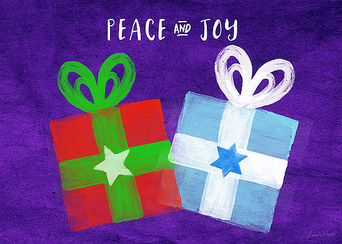 Peace and Joy- Hanukkah and Christmas Card by Linda Woods by Linda Woods