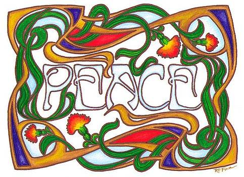Peace note card design by Rowena Finn