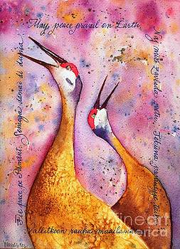 Peace on Earth Sandhill Cranes by Diane Splinter