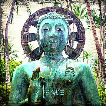 Peace Quote, Asian Turquoise Blue Buddha Statue  by Marcia Luce at Luceworks