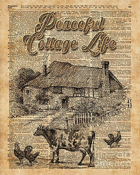 Peaceful Cottage Life Vintage Dictionary Art by Anna W