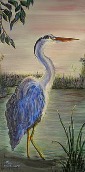 Peaceful Heron at Dawn by Sharon Tabor