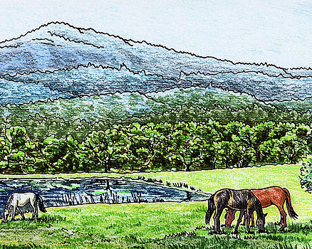 Peaceful Mountain Range With Grazing Horses by Irina Sztukowski
