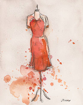 Peach and Orange Dress by Lauren Maurer
