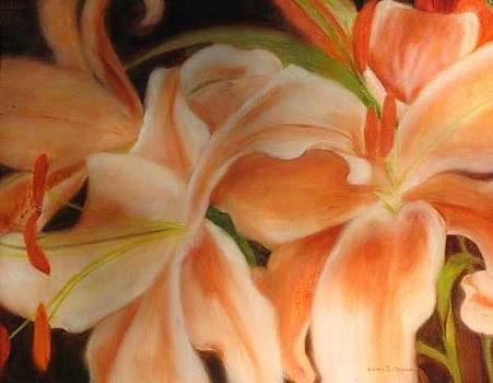 Peach Lillies by Selma Cooper