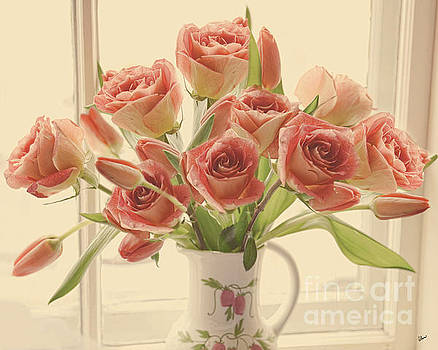 Peach Roses and Tulips by Alana Ranney
