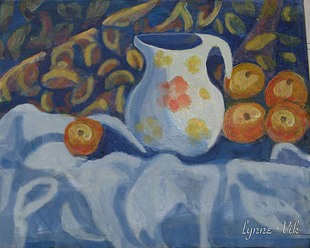 Peaches And Pitcher by Lyn Vic