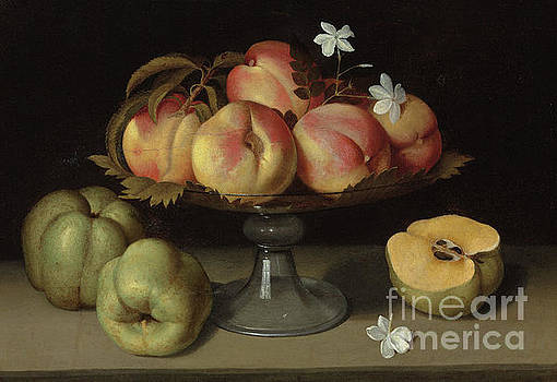 Fede Galizia - Peaches in a glass bowl, apples and jasmine flowers