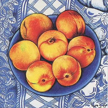 Peaches on Blue by Richard Lee