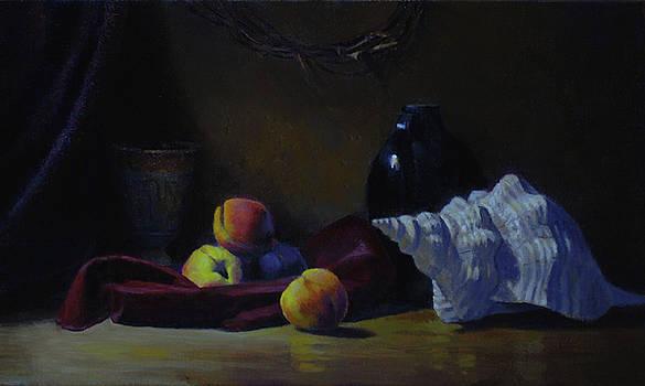 Peaches on Velvet by Alan Cayton
