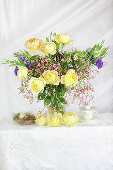 Peachy Yellow Roses and Lisianthus Bouquet by Susan Gary