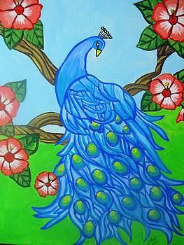 Peacock Among Flowers by Janene Hall