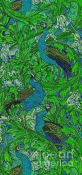 Peacock Garden Victorian Art Nouveau Print by Peter Ogden