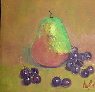 Pear paintings    Pear with Grapes  Virgilla Art by Virgilla Lammons
