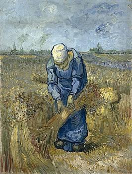 Peasant Woman Binding Sheaves at Wheat Fields Van Gogh series   by Vincent van Gogh by Artistic Panda