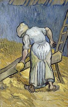 Peasant Woman Bruising Flax After Millet by Artistic Panda