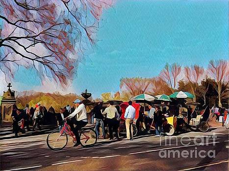 Pedaling in the Park - Central Park New York by Miriam Danar