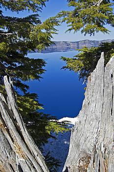 Peeking Lake Crater Lake Oregon by Kristen Vota