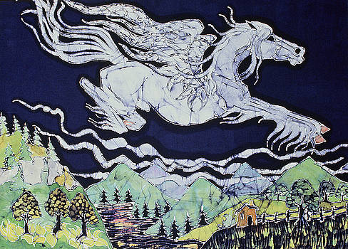 Pegasus Flying Over Stream by Carol  Law Conklin