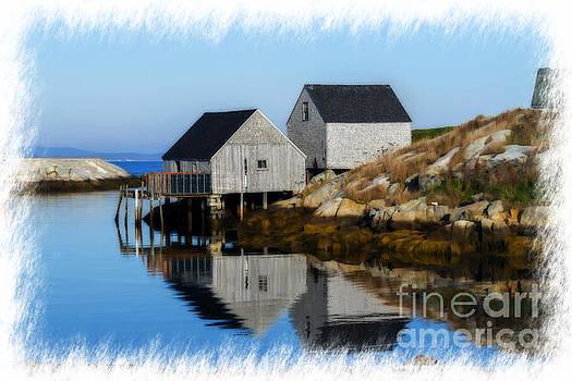Dan Friend - Peggys Cove marina with fishing houses