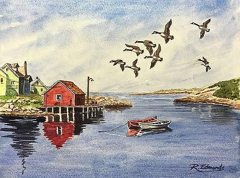 Peggy's Cove with Geese by Raymond Edmonds