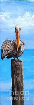 Pelican on Pier by JoAnn Wheeler