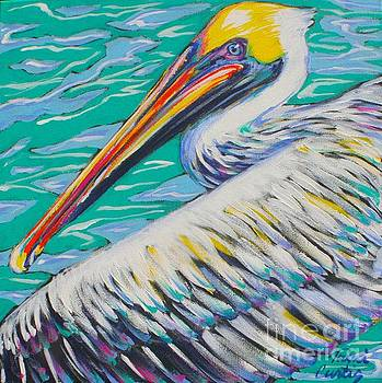 Pelican Over Water by Tami Curtis
