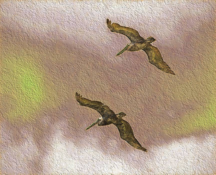 Pelicans On Cave Wall by Richard Goldman