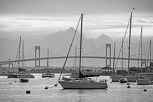 Pell Bridge Newport Harbor Newport RI Rhode Island Purple Sunset Black and White by Toby McGuire