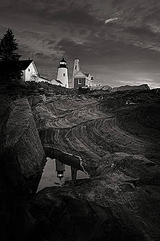Pemaquid Lighthouse at dawn Black and White by David Smith