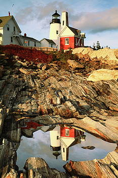 Pemaquid Point Lighthouse and Tidal Pool Reflection by Roupen  Baker